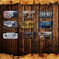 Wholesale tin signs vintage cars for sale - Group buy Las Vegas Home Wall Decor Metal Poster Texas Love US Vintage Tin Signs Maine California New York Car Number License Plate cm