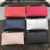 Wholesale double clutch wallets for sale - Group buy Women KS PU Leather Wallets Wristlet Handbags Double Zipper Clutch Bag Coin Purses Outdoor Party Bag Card Holders Pouch Money Bag C61504