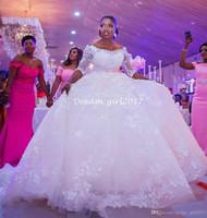 vestidos de fiesta al por mayor-2019 Modest 3/4 mangas largas vestidos de novia vestido de bola Appliques del flora Sheer medias mangas sin respaldo vestidos de novia árabe