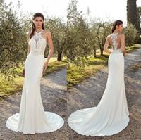 Wholesale sexy trumpet halter wedding dresses resale online - New Arrival Designed Mermaid Wedding Dresses Summer Boho Halter Neck Appliques Covered Button Back Long Bride Gowns