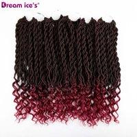 ombre кудрявые волосы оптовых-Бордовый Faux Locs вьющиеся крючком косы плетение волос навалом крючком наращивание волос синтетические волосы ломбер косы 70 г 3 шт./лот