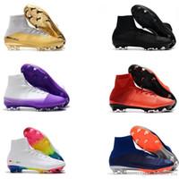 tamaño niños fútbol al por mayor-Venta caliente original para hombre y para mujer Mercurial Superfly oro CR7 FG fútbol zapatos niños botas de fútbol de calidad superior tamaño 35-45
