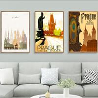 Wholesale pop art home decor canvas resale online - Pop Art Czech Republic Prague Praha Travel Canvas Paintings Vintage Pictures Kraft Posters Coated Wall Stickers Home Decor Gift