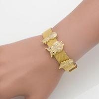 высококачественная титановая цепь оптовых-Mingshang high quality Titanium steel bracelet mesh watch band couple watch band adjustable milan chain CHARM