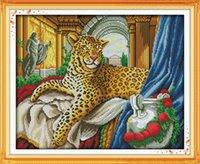 ingrosso ricami nobili-Leopardo d'oro, quadri decorati con animali nobili, Ricami a punto croce fatti a mano Ricamo contato stampa su tela DMC 14CT / 11CT