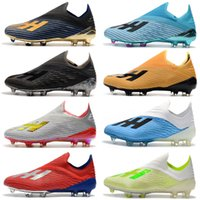 Wholesale gold shoelaces resale online - New X FG Mens Soccer Shoes with shoelace Cleats Cheap chaussures crampons de football boots x19 High Quality scarpe da calcio