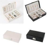 caja de joyas collares al por mayor-Caja de joyería de cuero PU Organizador Cajas de almacenamiento Estuche de viaje Pendientes Anillos Collares Caja de almacenamiento