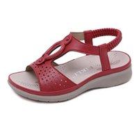 color azul polvo al por mayor-1922-1 verano 2019 nuevas sandalias para niñas europeas y americanas zapatos de playa bohemios para niños grandes polvo de albaricoque rojo azul cuatro colores