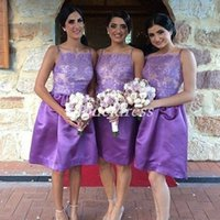 Wholesale knee length beach wedding dresses for sale - Group buy Knee Length Purple Bridesmaid Dresses Spaghetti Lace Short Garden Country Beach Arabic Wedding Guest Gowns Maid Of Honor Dress Plus Size