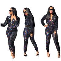 imagens de mulheres casacos venda por atacado-Gradiente colorido Lantejoulas Mulheres Duas Peças Treinos 2019 Mais Novo Listrado Com Zíper Mangas Compridas Jaqueta e Calças de Festa Outfits Imagens Reais