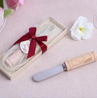 duş önerileri toptan satış-Şarap Cork ile Çevre Dostu Paslanmaz Çelik Dağıtma DHL Ücretsiz Kargo Favors Tereyağı Bıçak Düğün tercih ve Hediyeler Baby Shower Kulp