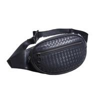 мужские кожаные сумки для талии оптовых-Дизайнерские новейшие мужские мужские сумки на ремне через плечо Bumbag Кожаный материал Тканые сумки Цепные сумки на талии 22668 Cross Fanny Pack Bum Waist