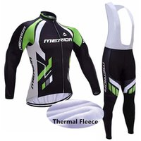 ingrosso merida maglie lunghe-caldo MERIDA modo inverno CICLA il manicotto lungo Jersey in bicicletta da corsa MTB Bike Maillot Bib Long Pants Set formato XS-5XL