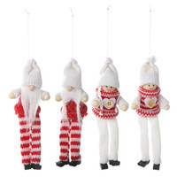 Wholesale santa puppets for sale - Group buy 2PCS Christmas Ornaments Knitted Long Long Leg Puppet Pendant Old Man Doll Santa Claus Snowman Hanging Figurine Merry Christmas