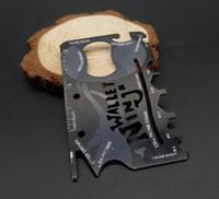 hayatta kalma cep kartı bıçağı açık toptan satış-Çok İşlevli Paslanmaz Çelik ninja Ince kart bıçak açık Avcılık Kamp survival aracı Şişe Açacağı mini Cep Bıçaklar cüzdan EDC aracı