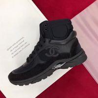 botas de calçado de tornozelo para mulheres venda por atacado-Moda de luxo designer de calçados femininos ankle boots casuais lace-up flats high-top sneakers das mulheres splice esportes sapatos clássicos com caixa original