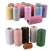 bobines de coton achat en gros de-Coton épais Bakers Twine String Cord Corde Rustique DIY Bricolage Artisanat 100 m Bobine Métallique Baker de Noël