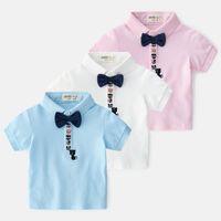 ingrosso cravatta di arco delle magliette-2019 Estate Nuovo arrivo Boutique bambini vestiti firmati ragazzi Camicia papillon in cotone Ragazzi T-shirt bambini T-Shirt ragazzi abbigliamento Ragazzo Camicia A3118