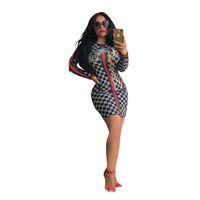 seksi uzun kollu elbiseler toptan satış-Lüks Seksi Kadın Elbise Izgara Şerit Baskı Uzun Kollu Elbiseler Bayan Tasarımcı Giyim Kulübü Sıska Elbiseler