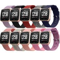 kumaş saat kayışları toptan satış-23mm Fitbit Versa için Bilek Kayışı Bilezik Fitbit Versa Lite için Dokuma Kumaş Değiştirme Bandı İzle Spor Lüks Bilek Kayışı 64001