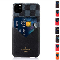 Wholesale colorful covers for phones for sale – best Luxury Fashion Models Colorful Grid Leather Phone Back cover For iphone X Xr Xs s Plus With Credit Card Soft Case for iphone Pro Max