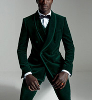 costume de tweed vert achat en gros de-Green Velvet Mens Tux Dinner Party Prom Casual Suit (Veste + Pantalon + Gilet + Cravate) Tuxed Groom Tuxedos Groomsmen De Mariage Blazer Costumes Pour Hommes