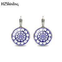 Wholesale art chinese jewelry for sale - Group buy New Fashion Chinese Style Blue And White Porcelain Glass Cabochon Earrings Art Flower Printed Clip Earring Jewelry
