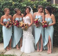 8481e076166 Wholesale light olive green bridesmaid dresses for sale - 2019 High Low  Beach Bridesmaid Dresses Cheap