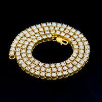 cadena de un solo diamante al por mayor-Mens Gold Silver Black Full Single Row Rhinestone Collar Chain Diamond Iced Out 1 Row Tennis Chain HipHop Collar Bling