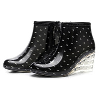 Wholesale anti skid boot resale online - Women s Rain Boots Wedges Short Tube Rain Boots Non slip Waterproof Water Shoes Slope anti skid short quality new103