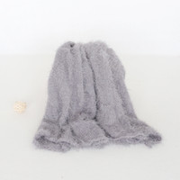 Wholesale jersey knits fabric resale online - Fuzzy Jersey wrap photography props Newborn swaddle sack fabric layer photo props baby stretch knit wrap