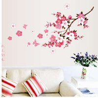 ingrosso decalcomanie a muro di vinile a farfalla-Bella arte creativa Peach Blossom Flower Butterfly Wall Stickers Vinyl Art Decalcomanie Decorazione Murale Home decoration # 5