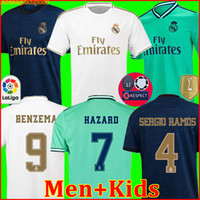 echte uniform großhandel-Real Madrid Trikots 19 20 Fußball Trikot GEFAHR SERGIO RAMOS BENZEMA camiseta 2019 2020 VINICIUS JR. Fußball-Trikot Uniformen Männer + Kinder Kit