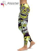 leggings stretch flor venda por atacado-Leggings Flor Do Crânio das mulheres quentes Impressão 3D Plus Size Treino Leggings Calças Calças Stretch Pants Leggins Femme