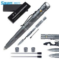 taktischer stift geführt großhandel-Tactical Pen für Selbstverteidigung + LED Tactical Flashlight, Flaschenöffner, Window Breaker | Multi-Tool für die tägliche Überlebensausrüstung (EDC)