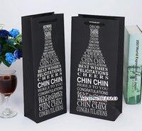 bronzing öl großhandel-Schwarze bronzing Wörter Wein-Papiertüte, Geschenkbox-einzelnes doppeltes Flaschen-Beutel-bewegliches Wein-Öl-Flaschen-Fördermaschinen-Paket 100pcs / lot