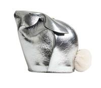 monedero conejito al por mayor-Diseñador inspirado en las mujeres cuero genuino plata oro conejito mini bolso conejo conejo bandolera monedero para niña
