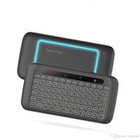 ingrosso antenna tv android-H20 mini tastiera wireless retroilluminazione touchpad antenna mouse telecomando inclinazione a infrarossi per Android BOX smart TV PC Windows