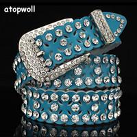 Wholesale white pin needle resale online - Rhinestone Cowskin Genuine leather belts for women jeans Luxury woman belt High quality Pin buckle waist strap for female dress T200113