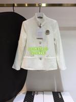 Wholesale single pearl brooch resale online - Women Tweed Blazer Tops With Rhinestone Pearl Brooch Silk Inside Coat Girls The Top Quality Tweed Stand Collar Coat Runway Female Suits