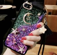 Wholesale bag for liquid online – custom For iphone promax and samsung s20 Dynamic Liquid Glitter Star Quicksand Case fashion Diamond Rhinestone Bling Cases with opp bag