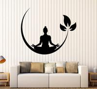 decalques de parede de ioga e vinil venda por atacado-Yoga Sala de Meditação Adesivos de Parede de Vinil Budista Zen Decalque Da Parede Projeto Removível Adesivo de Parede Decoração Sala de Yoga Quarto Papel De Parede