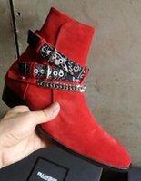 цепочки пряжек для ботинок оптовых-2019 новинка сапоги мужские замшевые кожаные сапоги с острым носком пряжки ботильоны металлические ленты цепи ботинки ну вечеринку обувь мужчины