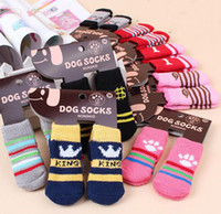 Wholesale cats dogs shoes for sale - Group buy Hot pet dog cat warm socks for winter Cute Puppy Dogs Soft Cotton Anti slip Knit Weave Sock Skid Bottom Dog cat Socks Clothes set