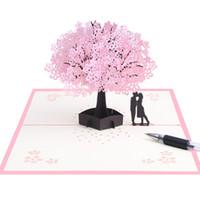 ingrosso fiori da party del giardino-Sakura Tree Greeting Cards 3D Stereoscopico Carta di invito Carta manuale Carving Flower Garden Romantico Wedding Party Supplies 11xda C1