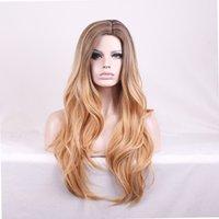 прямые длинные золотые парики оптовых-Factory price 1pc Women Fashion Lady Gold Sexy Gradient Wavy Curly Long Straight 70cm High Temperature Fiber Wigs Stand Mar15