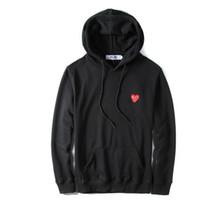 noktalı eşofman toptan satış-2019 Yeni Sonbahar İnce Polka Dot Kapüşonlular Kalp Baskı Coat Jogger Eşofman Kazak Siyah Beyaz Tişörtü Kapüşonlular