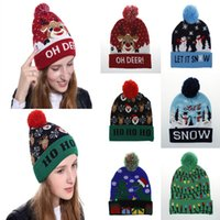 Wholesale christmas lighting design for sale - Group buy 6 Designs LED Christmas Hats Beanie Sweater Christmas Santa Hat Light Up Knitted Hat for Kid Adult For Christmas Party FLE436