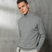 jersey de lana vintage al por mayor-Hombres de la cachemira suéter de lana de punto de cuello alto color sólido Marca los hombres Jerseys Vintage Hombre Estilo Otoño Invierno ropa básica
