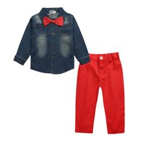 Wholesale red cowboy shirt resale online - Boy Suit Handsome Soft Cowboy Shirt Long Sleeve Cotton Soft Keep Warm Single Breasted Clothes Clothing
